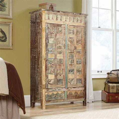 Wood Armoire by Chess Board Mango Wood Door 2 Drawer Armoire