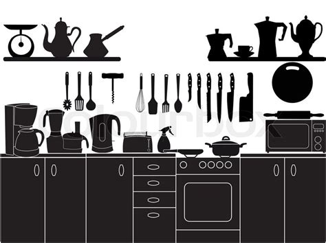 Vector illustration of kitchen tools for cooking   Stock Vector   Colourbox