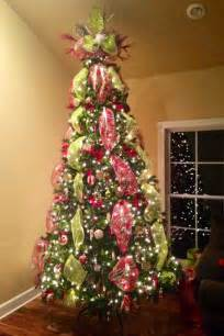 christmas tree deco mesh tree topper beautiful red and green christmas tree pinterest
