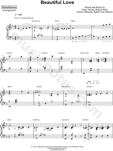pianogroove beautiful love sheet  piano solo
