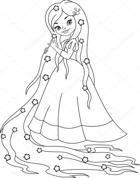 prenses rapunzel boyama sayfasi stok vektoer  malyaka