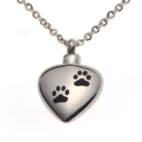 panda stainless steel pet dog paw print heart cremation