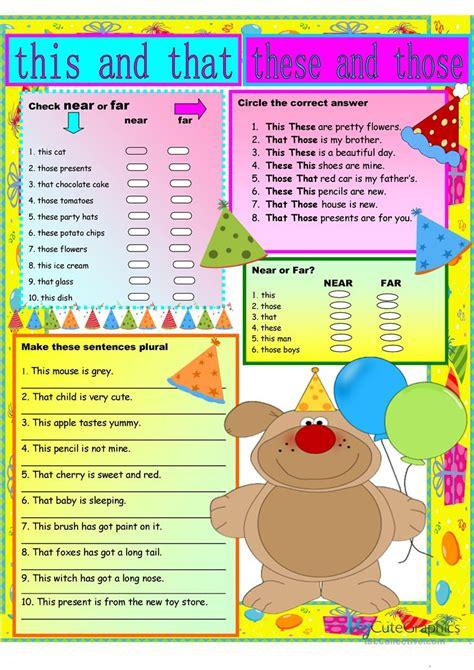 thisthatthesethose english esl worksheets