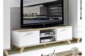Meuble TV Design Blanc Et Chne Sonoma