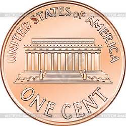 American coin one cent, penny - vector clip art