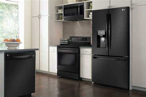 kitchen designs with black appliances lg debuts matte black stainless steel finish in new 8022