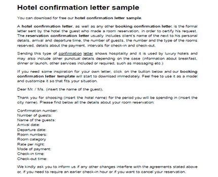 hotel confirmation letter sample confirmation booking