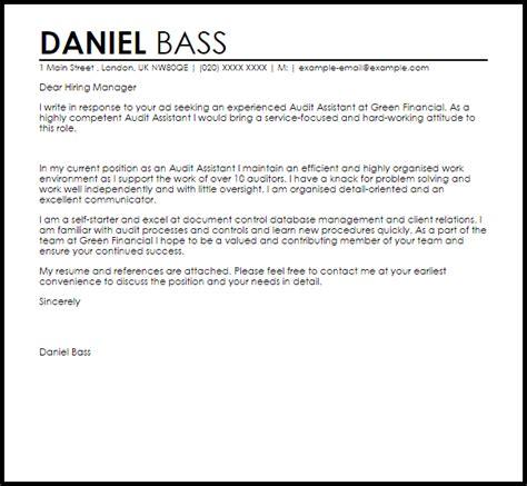 audit assistant cover letter sle livecareer