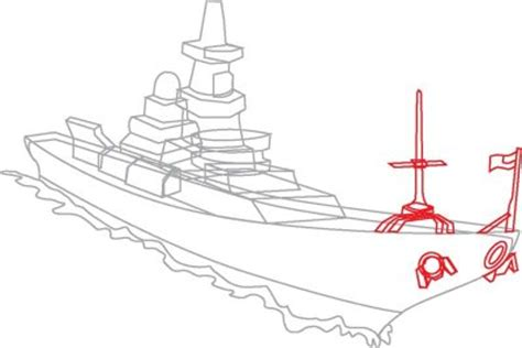 Boat Front View Drawing by 6 Add The Antenna And Flag How To Draw Navy Ships In 8
