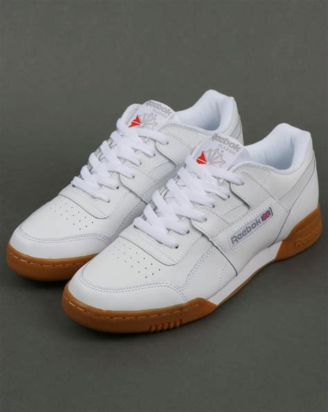 reebok workout plus trainers white carbon gum shoes sneakers