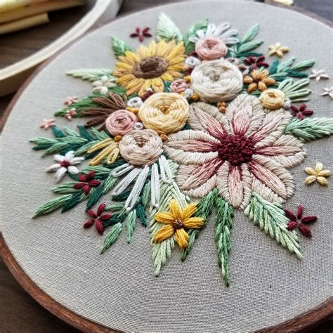 floral harvest embroidery pattern  namaste embroidery