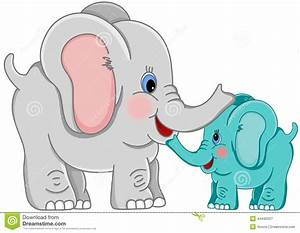 Mother and baby elephant stock vector. Illustration of ...
