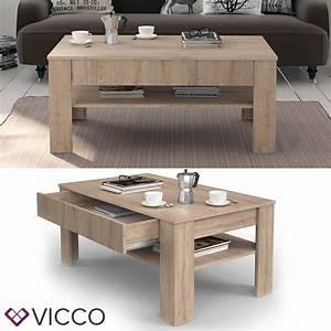 VICCO Couchtisch Sonoma Eiche Wohnzimmertisch Real