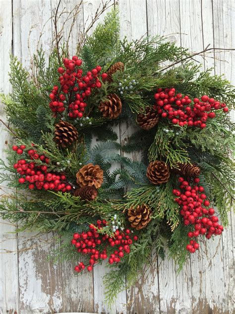 christmas wreath pine wreaths berry and pine christmas