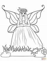 Coloring Fairy Ball Gown Printable Drawing sketch template