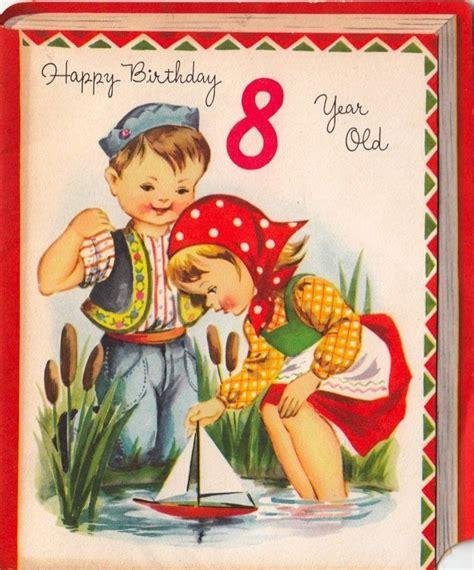 vintage greeting card children boy girl age   year