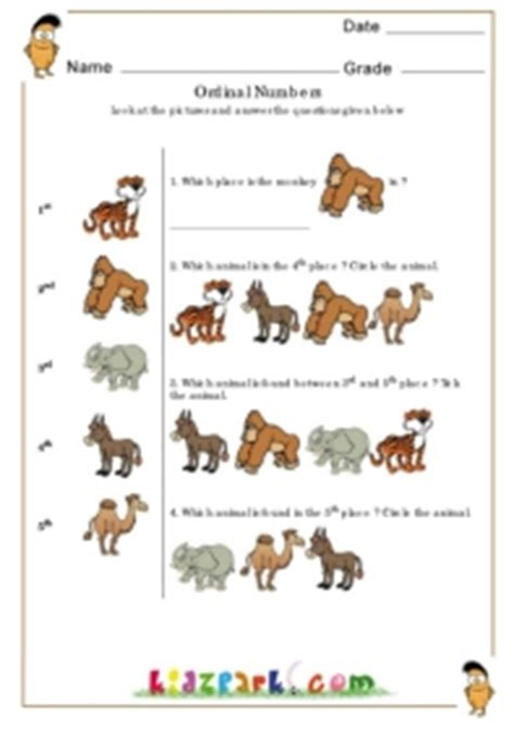 ordinal numbers mammalsmath worksheets  kids