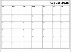 August 2026 Download Calendar