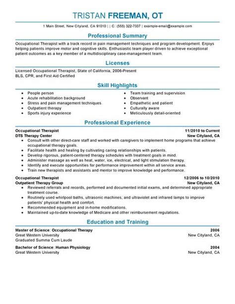 curriculum vitae occupational therapist best occupational therapist resume exle livecareer
