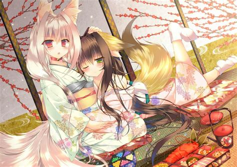 Anime Kitsune Wallpaper - anime anime kimono kitsunemimi original