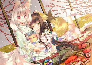 Anime, Anime, Girls, Kimono, Kitsunemimi, Original, Characters, Fox, Girl, Wallpapers, Hd, Desktop