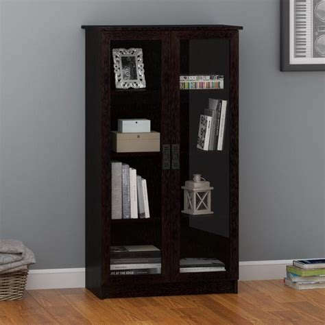 Black Bookshelf With Doors by 4 Shelf Glass Door Barrister Bookcase In Black Forest