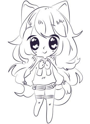 Kawaii Anime Girl coloring page Free Printable Coloring