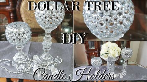 glass pillar candlestick diy dollar tree bling candle holders 2017 petalisbless