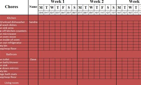simple cleaning schedule  excel templates