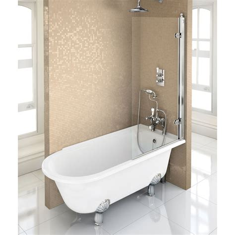 Buy Shower Bath by Hton Showering Bath Left With White Claw Legs