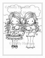Coloring Twin Twins Pages Printable Harrison Molly Whimsical Para Kitties Fantasy Fairy Colorir Imagens Getdrawings Instant Adults sketch template
