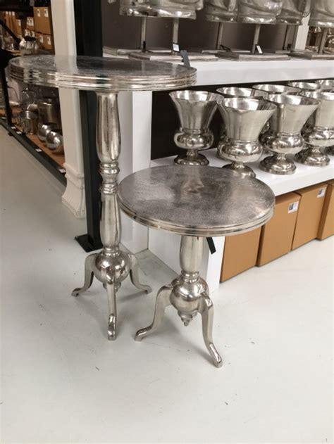 bistrotisch metall silber metall tisch rund aus aluminium