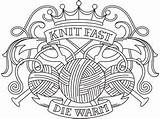 Knitting Embroidery Tattoo Crest Urbanthreads Needles Knit Paper Trace sketch template