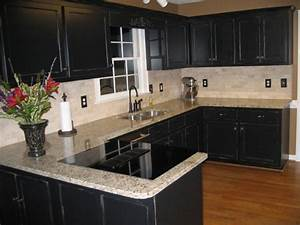 Top Kitchen Cabinet with Black Granite Countertops