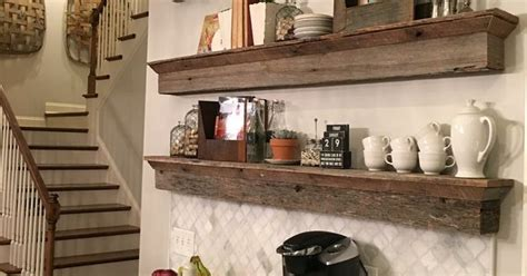 floating barnwood shelves coffee bar area  great