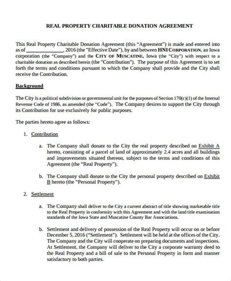 donation agreement template   word  format