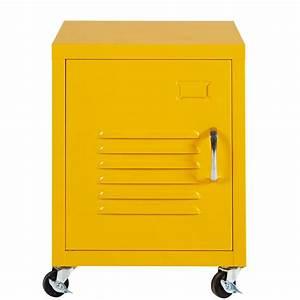 Table De Chevet Metal : table de chevet roulettes en m tal jaune loft maisons ~ Melissatoandfro.com Idées de Décoration