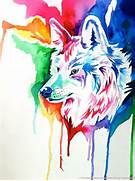Rainbow Wolf Commission 2 by Lucky978 on DeviantArt  Colorful Wolf Painting