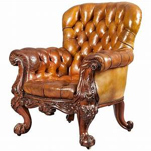 Gentleman, U2019s, Leather, Library, Chair, Firmly, Attributed, To, Gillows, Of, Lancaster, At, 1stdibs