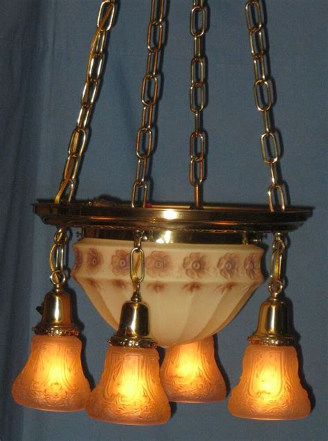 antique electric brass ceiling 5 light fixture custard