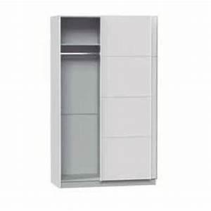 Porte Coulissante 120 Cm : armoire avec 2 portes coulissantes coloris blanc dim ~ Dailycaller-alerts.com Idées de Décoration