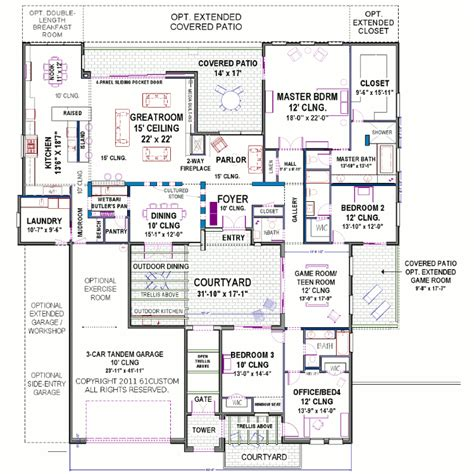 courtyard home floor plans modern courtyard house plan