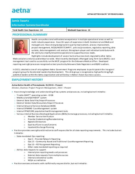 pa resume template aetna better health jswartz infosyscoord