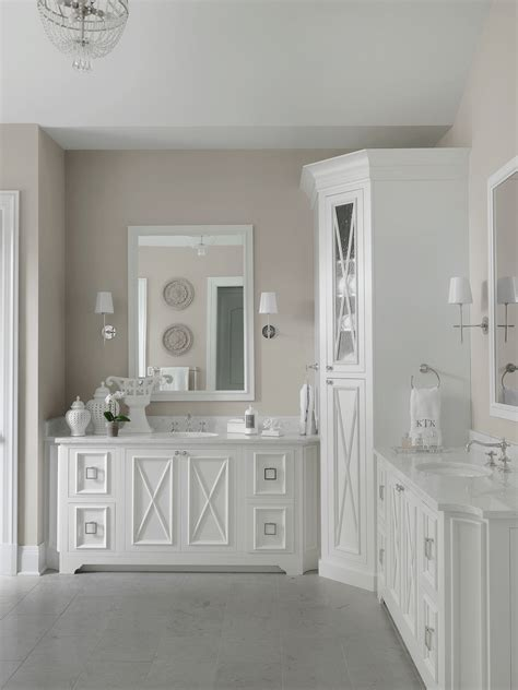 transitional white master bathroom beckallen cabinetry