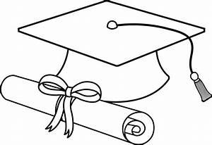 Graduation Cap Line Art - Free Clip Art