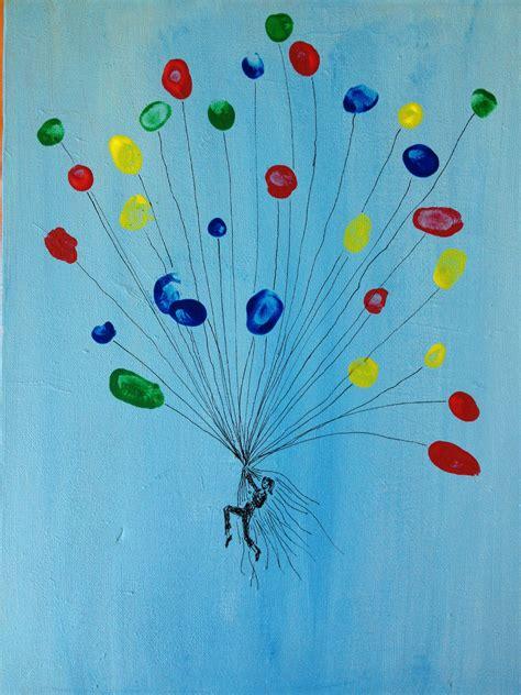 geschenk f 252 r eine kollegin die luftballons sind fingerabdr 252 cke der kinder auf leinwand