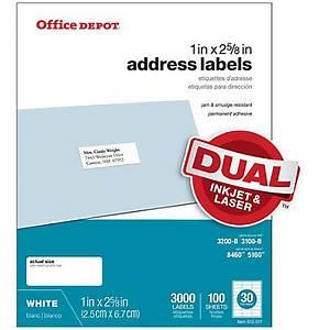 office depot brand white inkjetlaser address labels 505 With does office depot print stickers