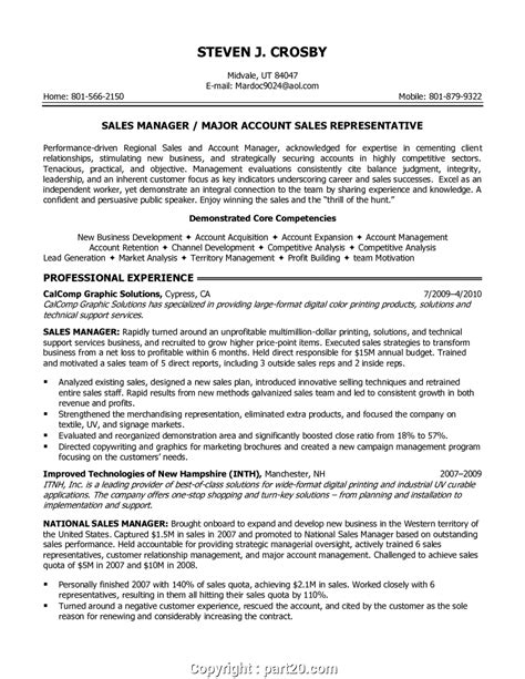 Manager Profile Resume by Print Sales Manager Resume Profile Cover Letter Efective