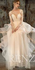 wedding dress off white tulle dresslong sleeve lace bride With off white dresses for weddings