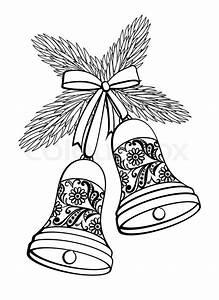 Weihnachtsmotive Schwarz Weiß : schwarz und wei silhouette einer glocke mit einem floralen design h ngen an einem ~ Buech-reservation.com Haus und Dekorationen